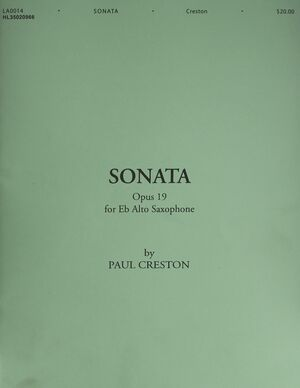 Sonata, Op. 19 for E-Flat Alto Saxophone